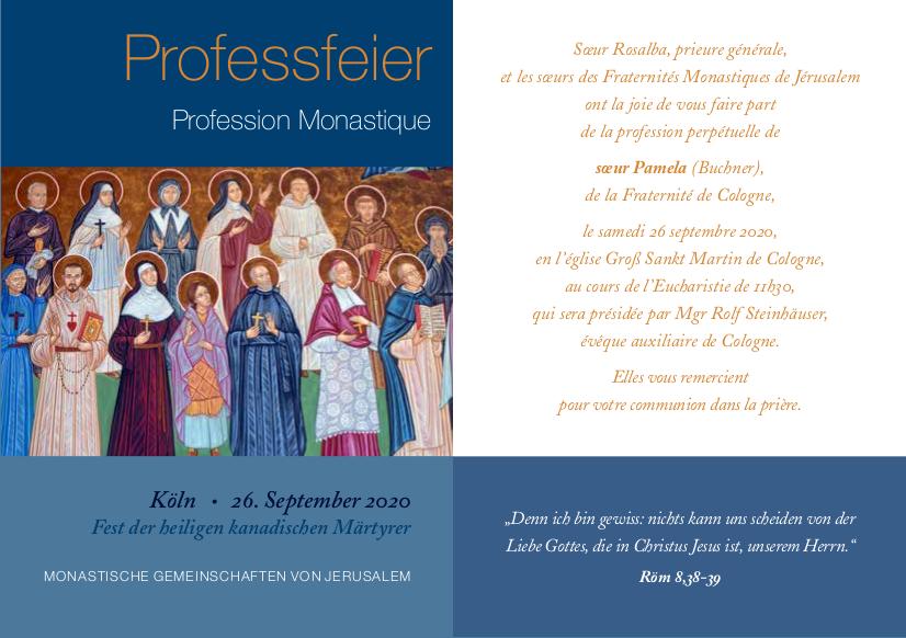 Professions monastiques de sœur Pamela et sœur France